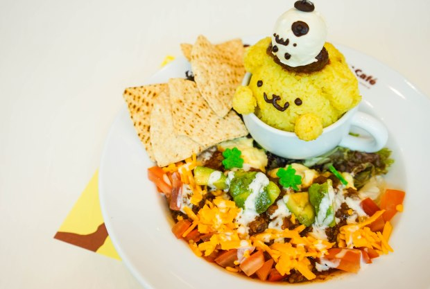 Pompompurin Cafe Singapore Taco Rice in a Cup of Friendship