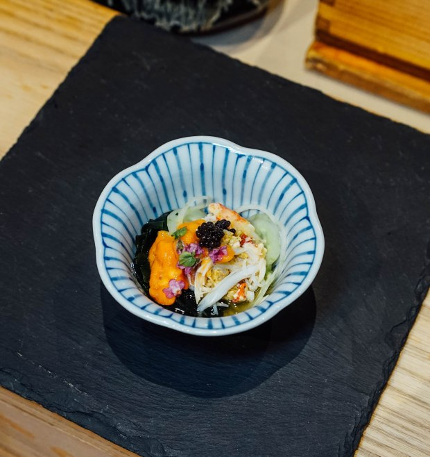 mai-by-dashi-master-marusaya-hokkaido-hairy-crab-with-sweet-vinegar-sauce-topped-with-uni-with-shiso-flower-and-caviar