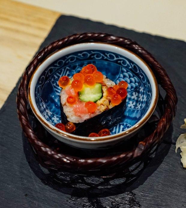 mai-by-dashi-master-marusaya-unagi-cucumber-and-otoro-maki-topped-with-ikura-2