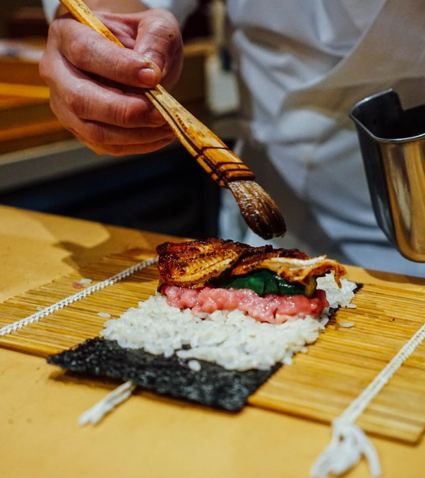 mai-by-dashi-master-marusaya-unagi-cucumber-and-otoro-maki-topped-with-ikura