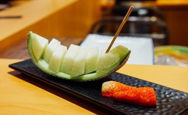 wa-i-sushi-omakase-Fresh Honeydew with Strawberries