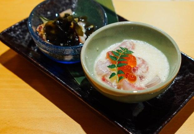 wa-i-sushi-omakase-Octopus with Seaweed and Huai Shan (Chinese Yam) with White Fish