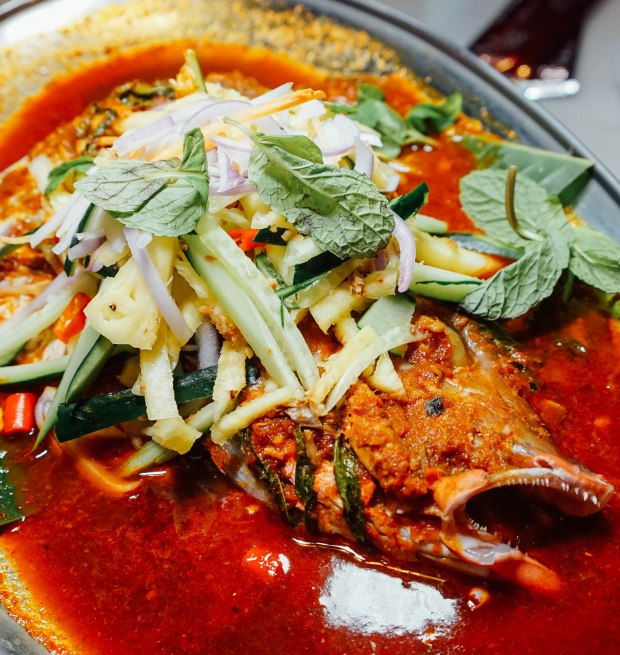 george town tze char Penang Laksa Steamed Fish Head