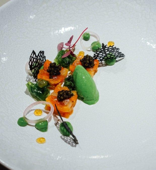 lerouy-Ora King Salmon : Avocado : Shiso : Kaviari Caviar : Sea Lettuce