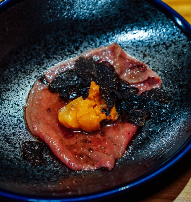 the-bar-kakure-omakase-by-kisho-wagyu-a5-bafun-uni-black-truffle